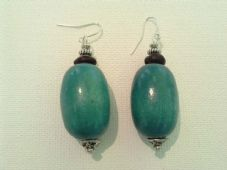 Wooden turquoise earrings